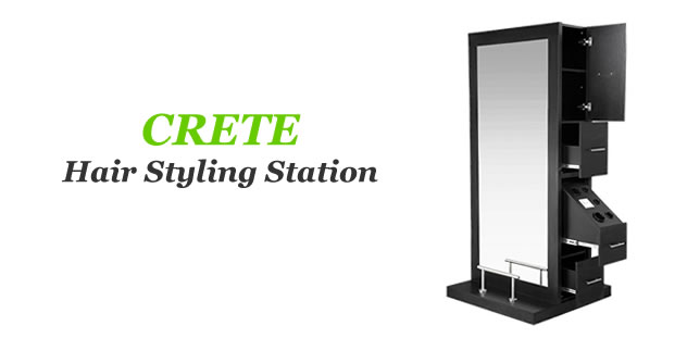 Crete Salon Double Sided Station, AGS BEAUTY Hair Styling Stations, AGS BEAUTY Salon Mirrors Supplies