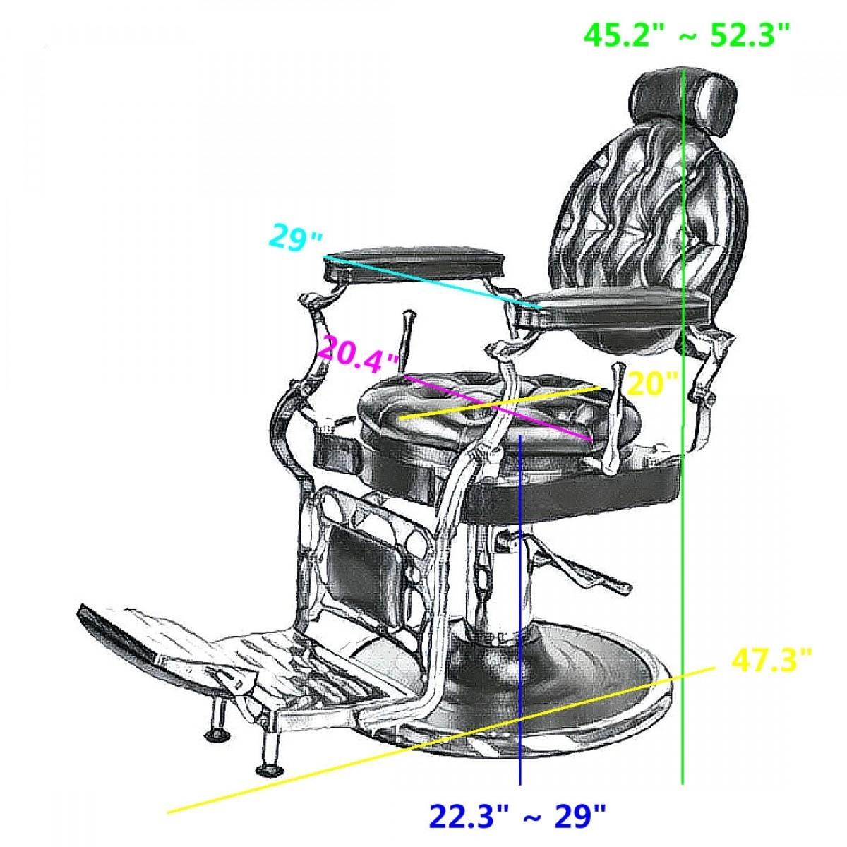Hair cutting chair dimensions -  Justinian Antique Barber Chair Free Shipping