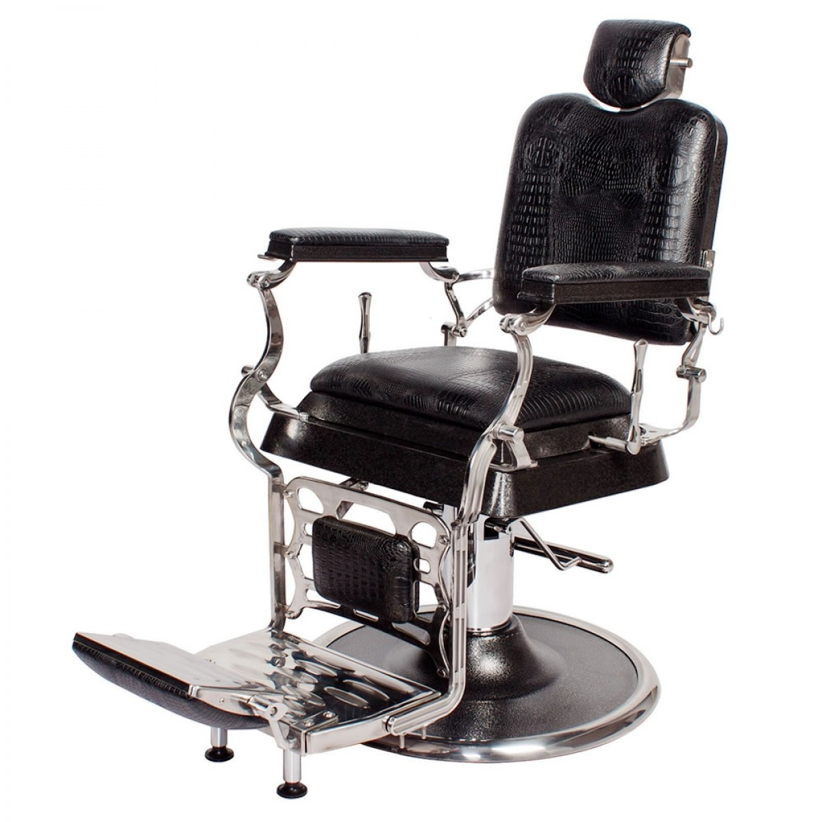 """EMPEROR"" Barber Chair in Black Crocodile, barber shop equipment, barber shop chairs for sale"
