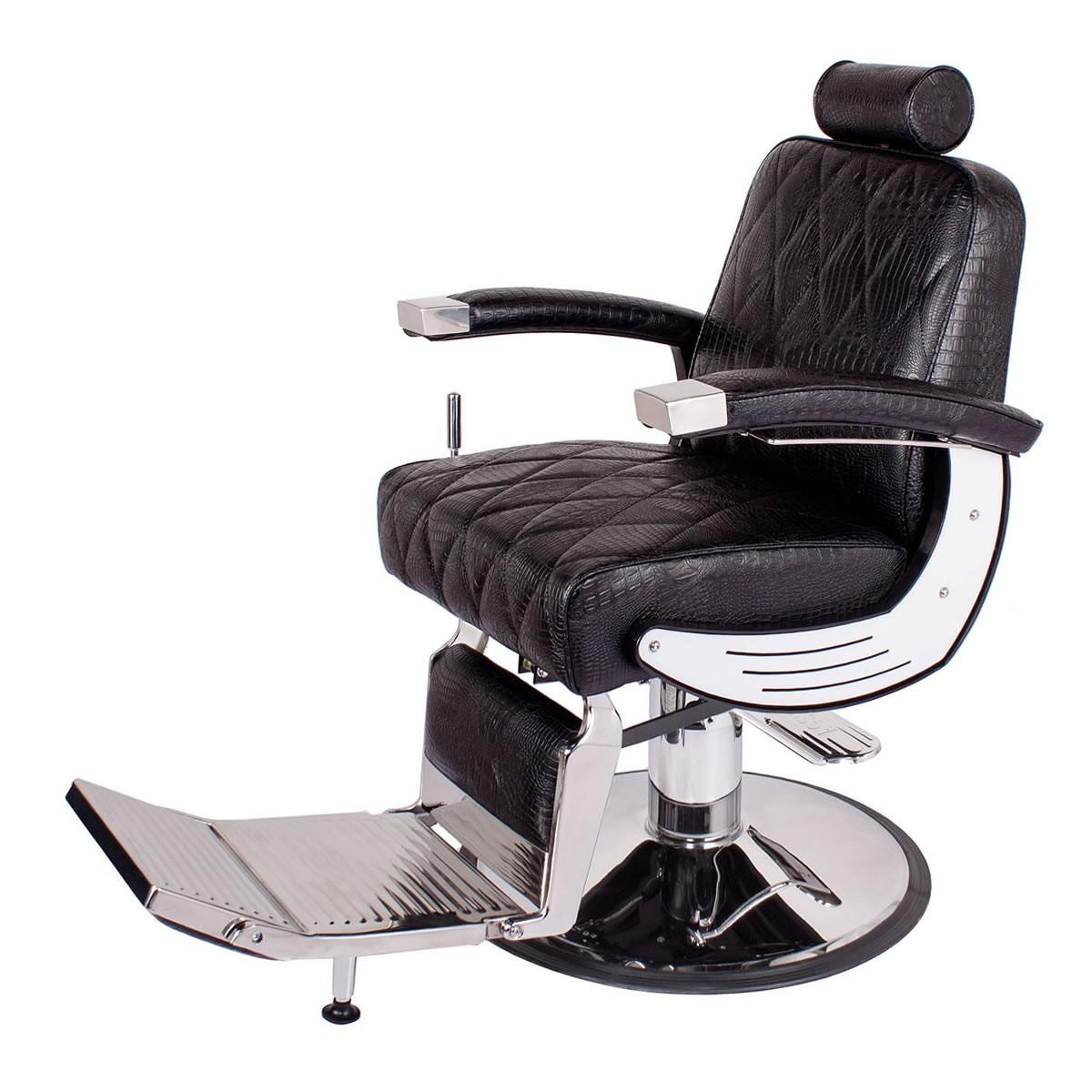"""BARON"" Heavy Duty Barber Chair in Black Crocodile"