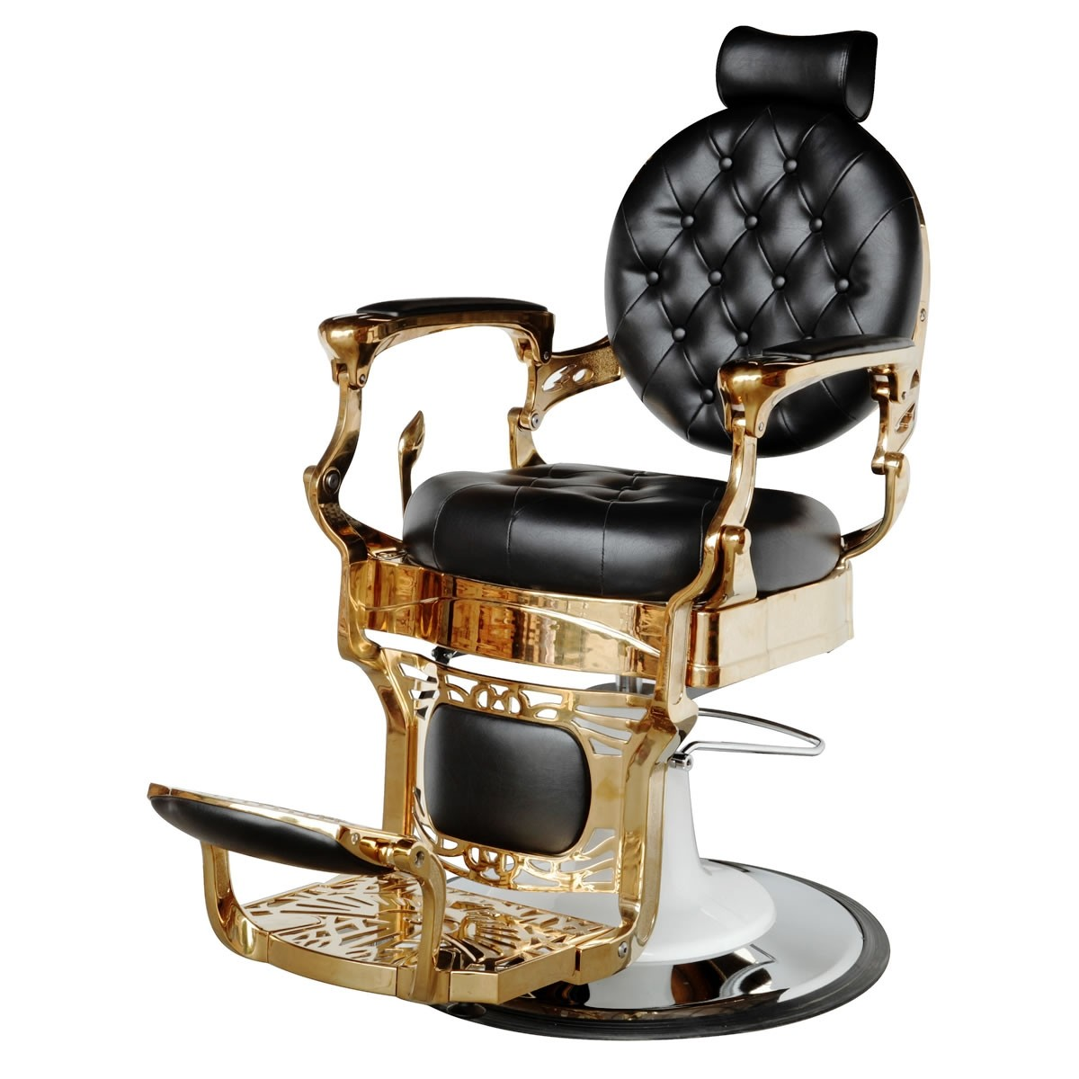 """THEODORE"" Golden Barber Chair - ""THEODORE"" Golden Barber Shop Chair, ""THEODORE"" Barbering Chairs in Gold Color"