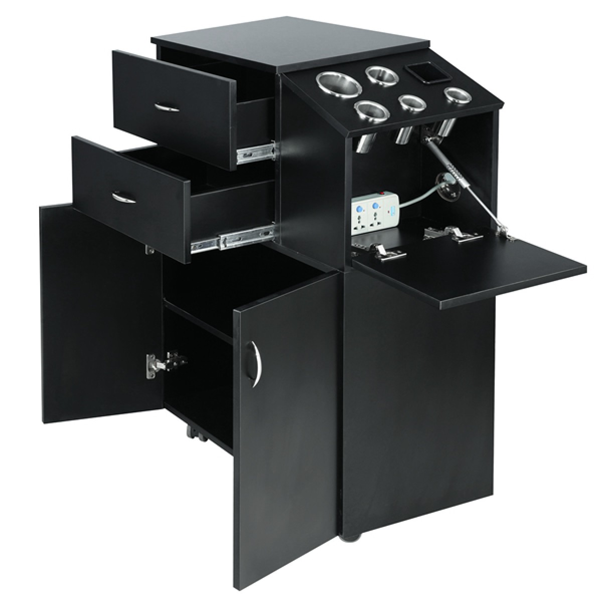 Coria salon trolley matte black salon stations for Accessories for beauty salon