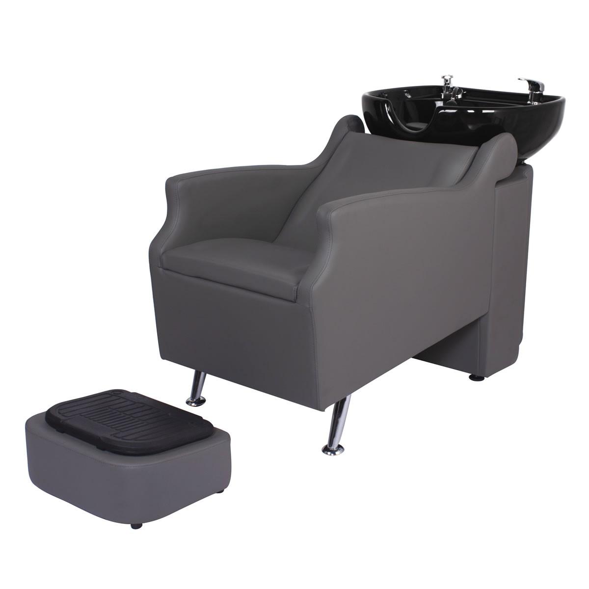 """""""ISLAND"""" Backwash Shampoo Unit in Grey, Grey Shampoo Bowl, Grey Shampoo Chair"""