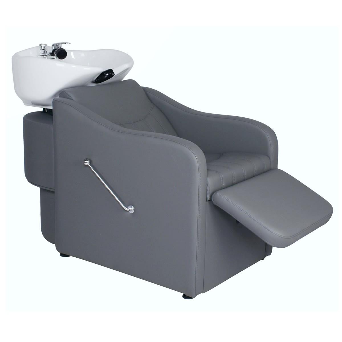 """""""TAPER"""" Backwash Shampoo System in Grey, Grey Backwash Shampoo Bowl, Grey Shampoo Sink"""