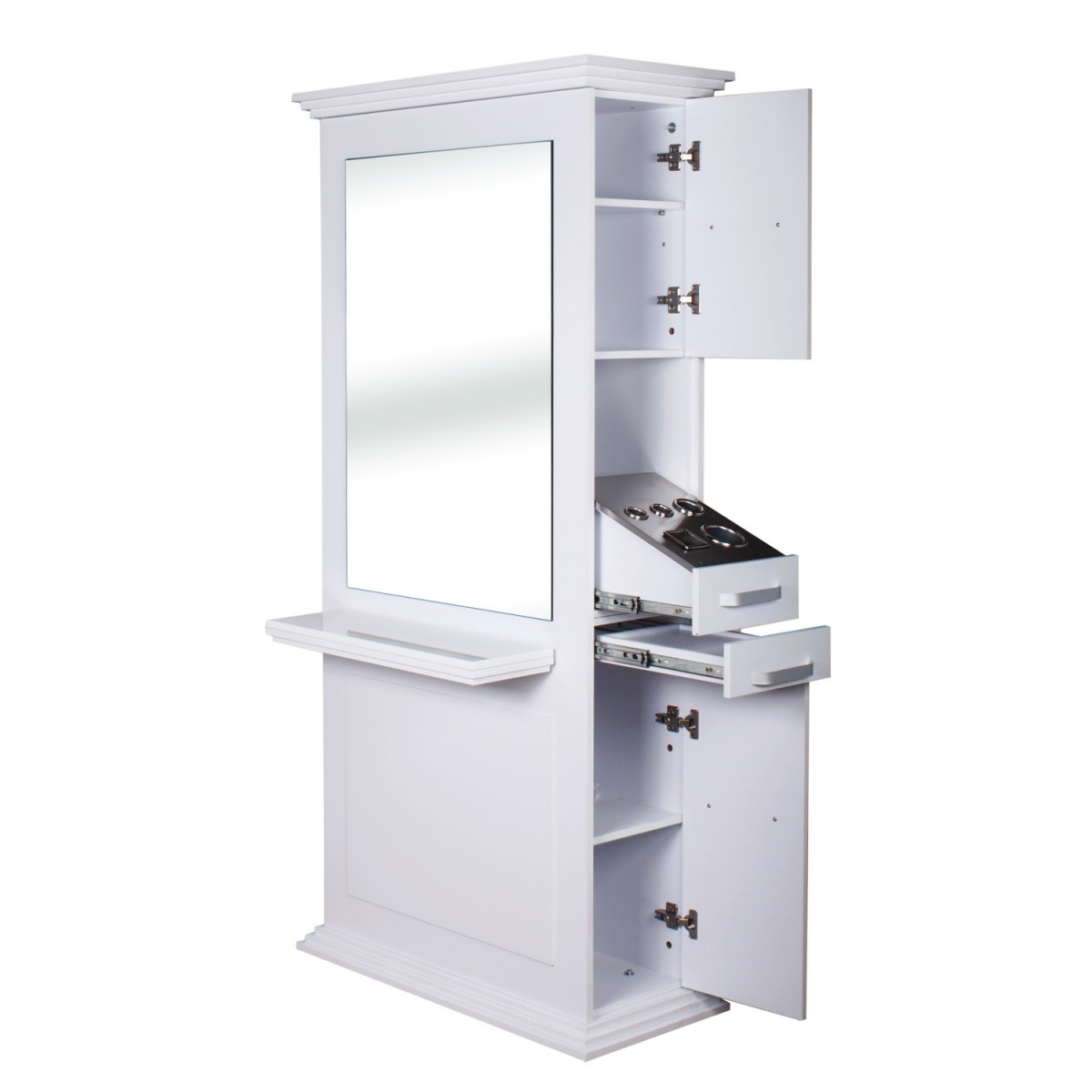 double sided hair styling stations quot siena quot sided salon station in white 8827 | i 58 1