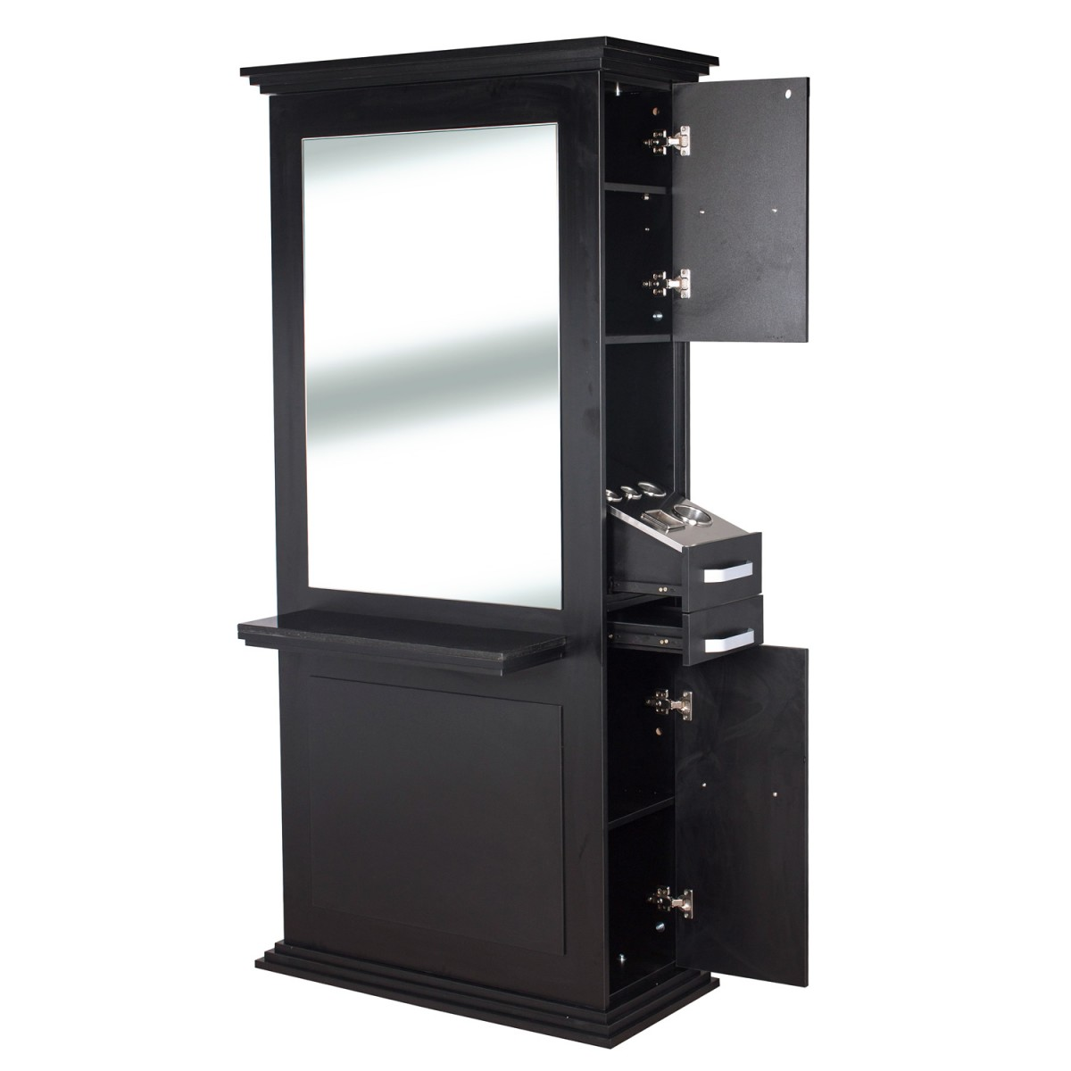 """SIENA"" Single Sided Salon Station in Matte Black, Single Sided Styling Station, Single Sided Salon Mirror"