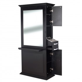 """SIENA"" Single Sided Salon Station in Matte Black (Made To Order)"