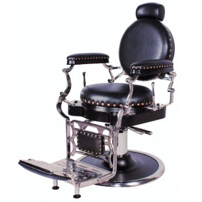 """ZENO"" Antique Barbershop Chair in Premium Black"