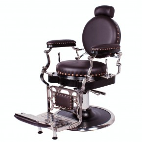 """ZENO"" Antique Barbershop Chair in Soft Chocolate"