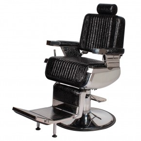 """CONSTANTINE"" Classic Barber Chair in Patent Black Crocodile, Classic Barber Shop Furniture, Classic Barber Shop Equipment"