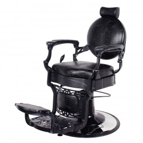 """ROMANOS"" Vintage Barbershop Chair in Black Crocodile"
