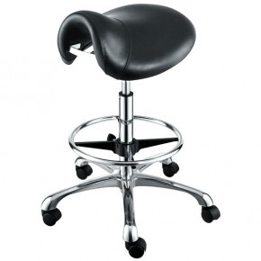 """HERMES"" Saddle Salon Stool with Cast Alloy Base & Footrest Ring"