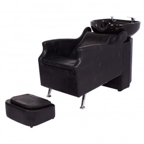 """ISLAND"" Shampoo Backwash Unit in Black Crocodile, AVANT Backwash Shampoo System"