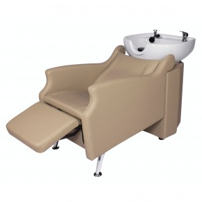 """MISSISSIPPI"" Backwash Shampoo System in Khaki, Khaki Shampoo Bowl, Khaki Shampoo Chair"