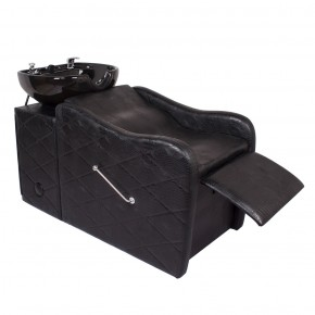 """GABRIELLE"" Shampoo Bowl and Chair Combo in Black Crocodile"