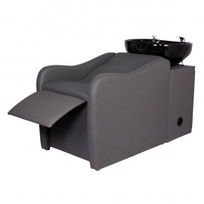 """GABRIELLE"" Shampoo Backwash Unit in Grey, Grey Shampoo Chair, Grey Shampoo Bowl"