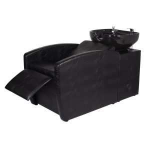 """RIO"" Backwash Shampoo Chair in Black Crocodile, Salon Shampoo Sink in Black Crocodile"