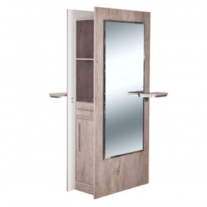 """""""BURANO"""" Double Sided Styling Station in Grey Oak, double sided salon mirror"""