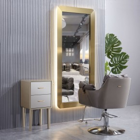 """LAS VEGAS"" Stainless Styling Station in Gold with LED Light, LAS VEGAS Salon Equipment, LAS VEGAS Salon Furniture"