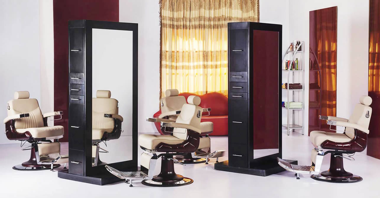 hair salon stations, hair styling stations, barber stations, salon mirrors for sale